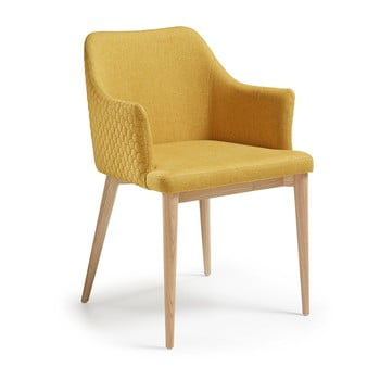 Scaun cu picioare din lemn și cotiere La Forma Danai, galben de la La Forma