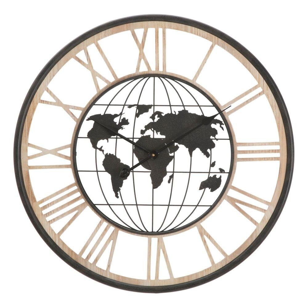 Černé nástěnné hodiny Mauro Ferretti World, ø70cm