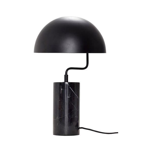 Černá stolní železná lampa s detaily z mramoru Hübsch Gero