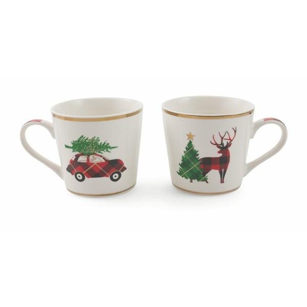 Sada 2 vánočních hrnků z kostního porcelánu Villa d'Este XMAS Macchina-Renna, 400 ml