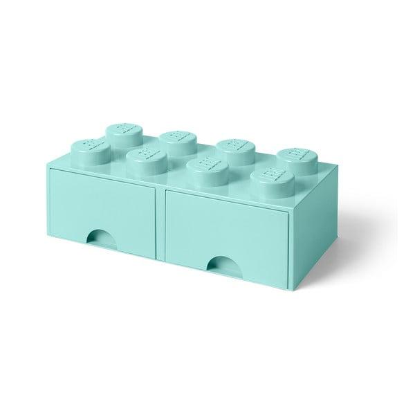 Cutie depozitare cu 2 sertare LEGO®, verde mentă