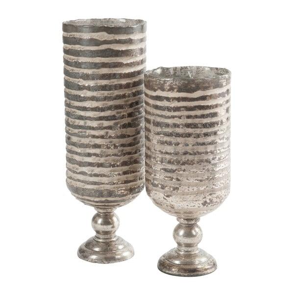 Stříbrná váza na nožce Stripe