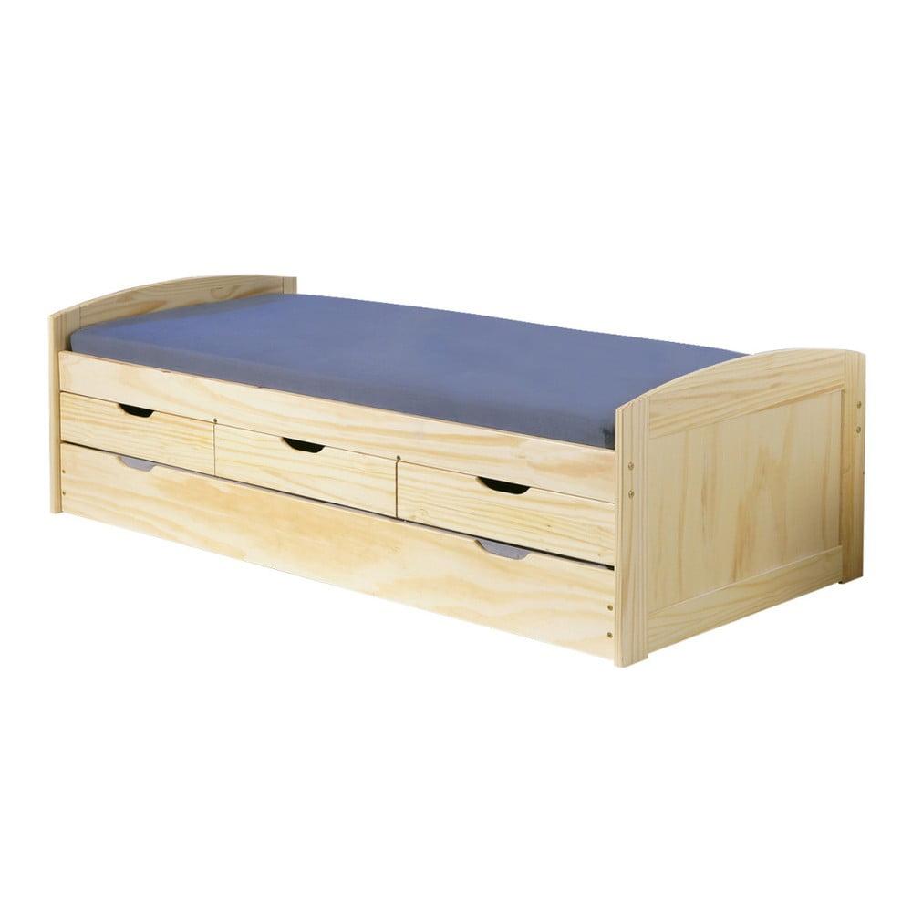 Dřevěná jednolůžková postel s úložným prostorem 13Casa Moon, 90 x 200 cm