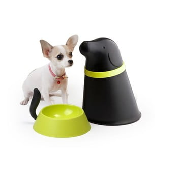Bol cu recipient de mâncare Qualy&CO Pupp, negru de la Qualy