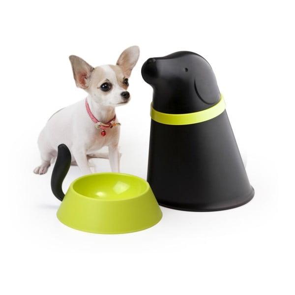 Bol cu recipient de mâncare Qualy&CO Pupp, negru
