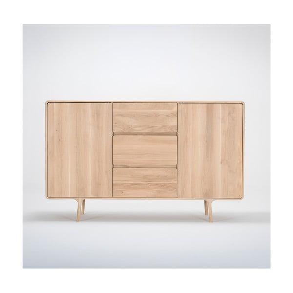 Comodă din lemn masiv de stejar cu 3 sertare Gazzda Fawn, lățime 180 cm
