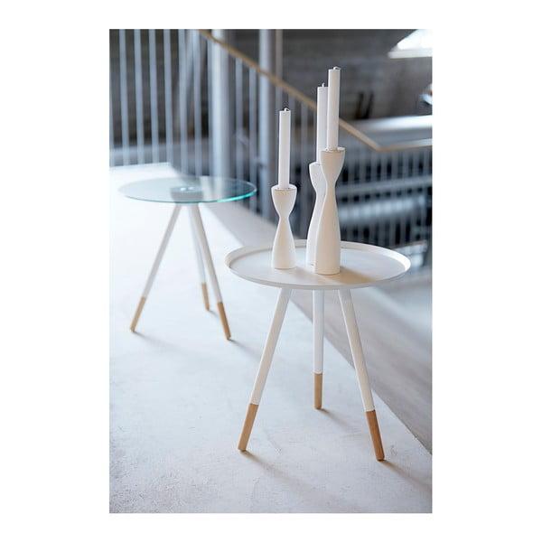 Bílý odkládací stolek Canett Misty Glass