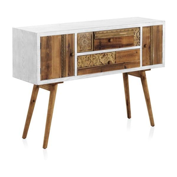 Konzolový stůl s bílými detaily a dvěma šuplíky Geese Rustico Puro