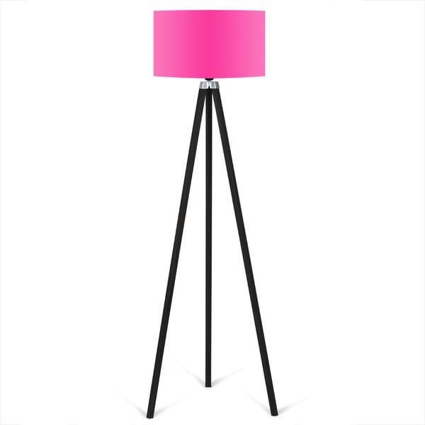 Černá volně stojící lampa s růžovým stínítkem lampa Kate Louise Siyah
