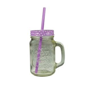 Sklenice s fialovým krytem a brčkem JOCCA Straw, 430 ml
