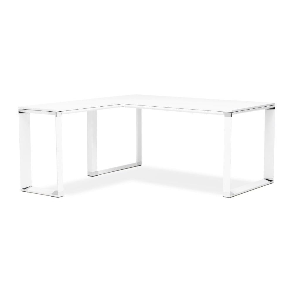 Bílý pracovní rohový stůl s dřevěnou deskou Kokoon Warner