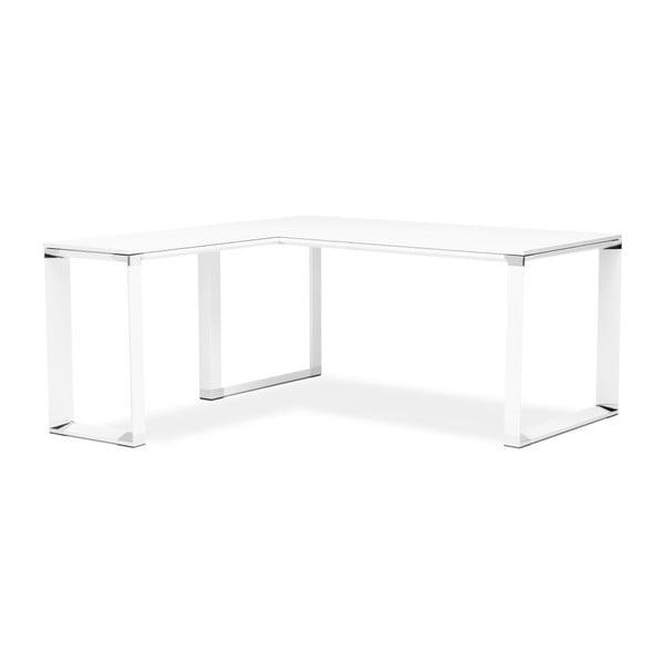 Białe biurko narożne z drewnianym blatem Kokoon Warner
