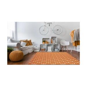 Oranžový vysoce odolný koberec vhodný do exteriéru Floorita Trellis,133x190cm