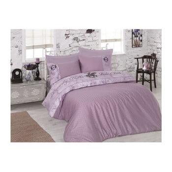 Lenjerie de pat din bumbac satinat și cearșaf BHPC Lilac, 200 x 220 cm, mov