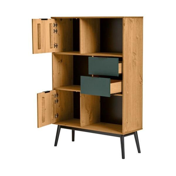 Knihovna se zelenými zásuvkami z borovicového dřeva Marckeric Lucie
