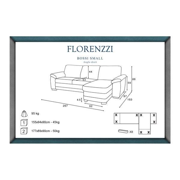 Canapea cu șezut pe partea dreaptă Florenzzi Bossi, maro