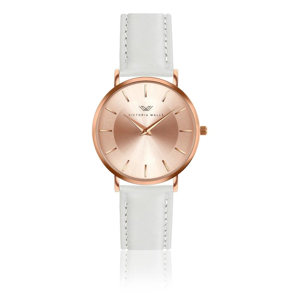 Dámské hodinky s páskem z pravé kůže v bílé barvě Victoria Walls Emma
