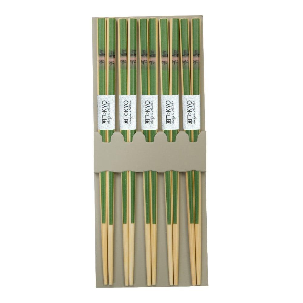 Sada 5 zelených bambusových párů hůlek Tokyo Design Studio