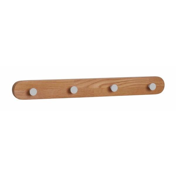Cuier din lemn de stejar cu 4 cârlige, Rowico Gorgona, culoare naturală