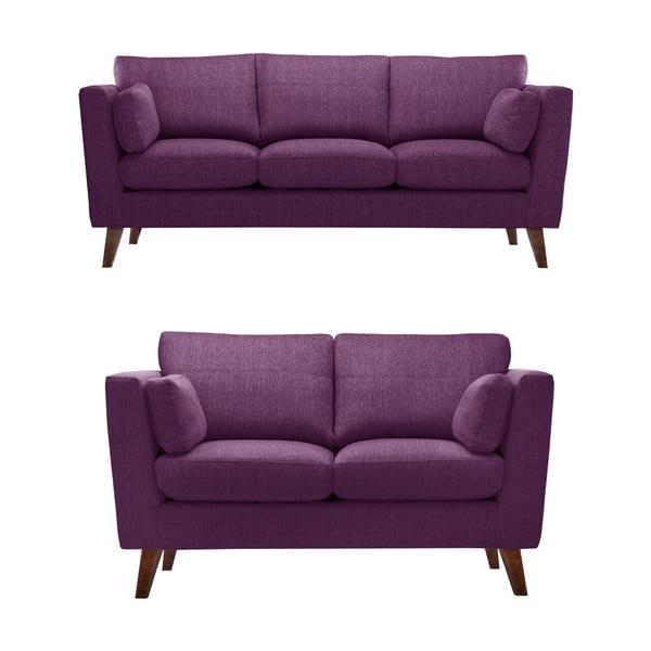 Sada švestkově fialové dvoumístné a trojmístné pohovky Jalouse Maison Elisa