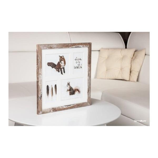 Hnedý rámček na 4 fotografie Styler Bergen, 39×39 cm