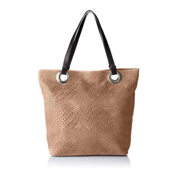 Hnědobéžová kožená kabelka Chicca Borse Pagon