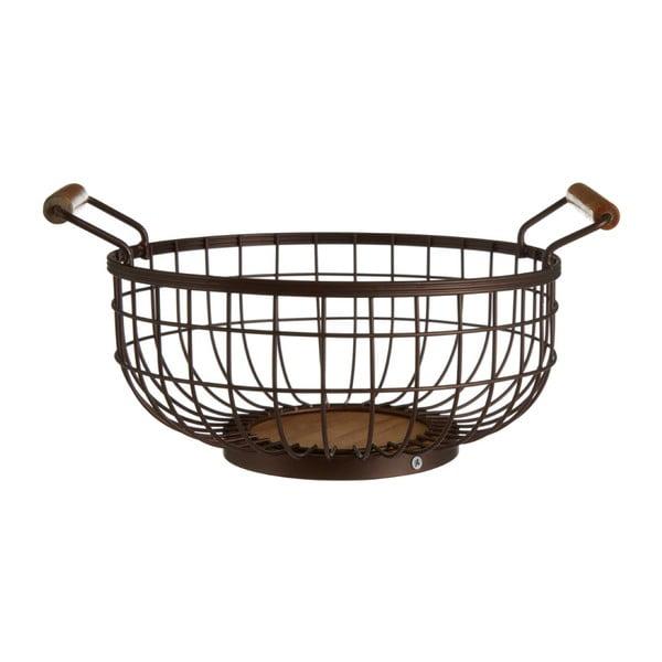 Bronzszínű vas gyümölcsöskosár fa fülekkel - Premier Housewares