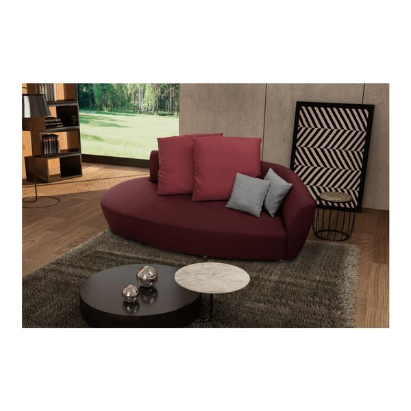 Canapea cu trei locuri Florenzzi Viotti Red/Light Grey, spătar pe partea dreaptă