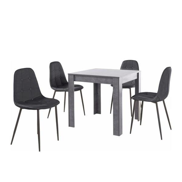 Set šedého jídelního stolu a 4 černých jídelních židlí Støraa Lori Lamar Duro