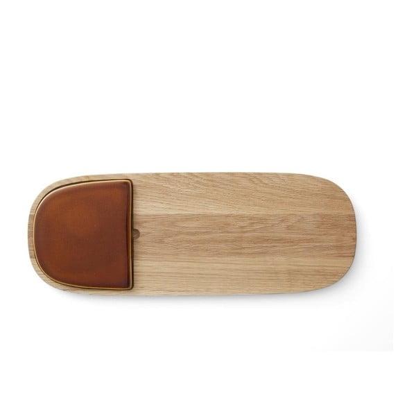 Platou din lemn de stejar Bitz Cibus, detaliu cărămiziu