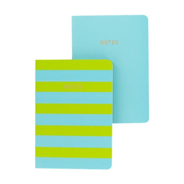 Sada 2 modro-zelených zápisníků A6 GO Stationery Lime Stripe