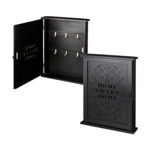 Černá nástěnná skřínka na klíče Unimasa Home Sweet Home, 25 x 33 cm