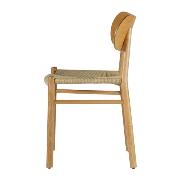 Přírodní jídelní židle z gumovníkového dřeva s ratanovým sedákem BePureHome Jointly