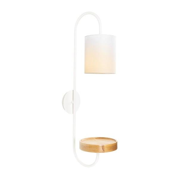 Bílé kovové nástěnné svítidlo s bílým stínidlem Opviqlights Marylena