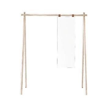 Cuier din lemn de pin cu oglindă Karup Design Hongi Natural imagine