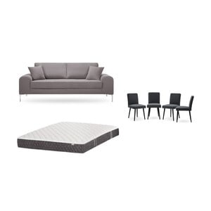 Set třímístné hnědé pohovky, 4antracitově šedých židlí a matrace 160 x 200 cm Home Essentials