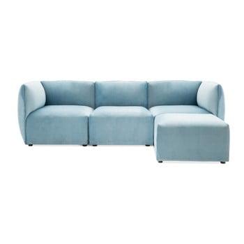 Canapea modulară cu 3 locuri și suport pentru picioare Vivonita Velvet Cube, albastru deschis de la Vivonita
