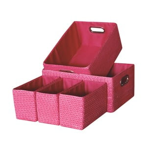 Sada 5 úložných krabic Laroom Pink