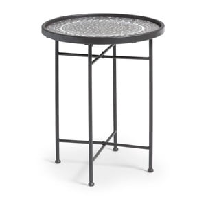 Černý kovový odkládací stolek La Forma Adri, ⌀45cm
