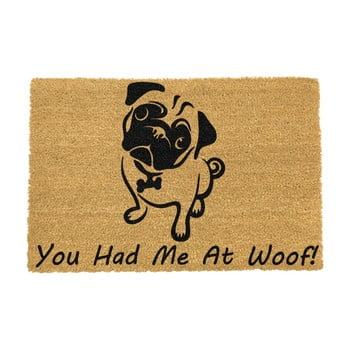 Covoraș intrare din fibre de cocos Artsy Doormats You Had Me At Woof Pug, 40 x 60 cm imagine