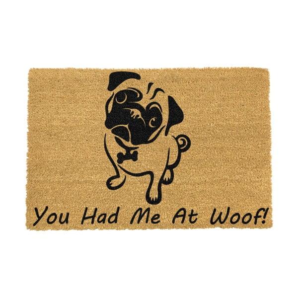 Covoraș intrare din fibre de cocos Artsy Doormats You Had Me At Woof Pug, 40 x 60 cm