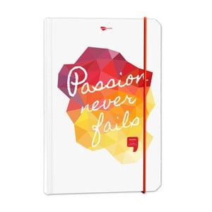 Zápisník z recyklovaného papíru Passion never fails
