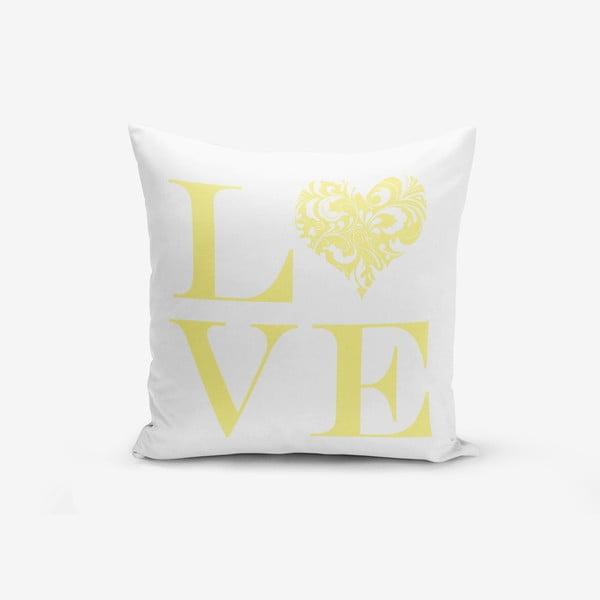 Poszewka na poduszkę z domieszką bawełny Minimalist Cushion Covers Love Yellow, 45x45 cm