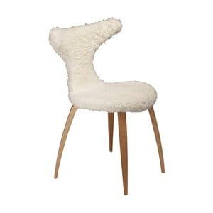 Bílá židle s kožešinovým sedákem DAN-FORM Denmark Dolphine