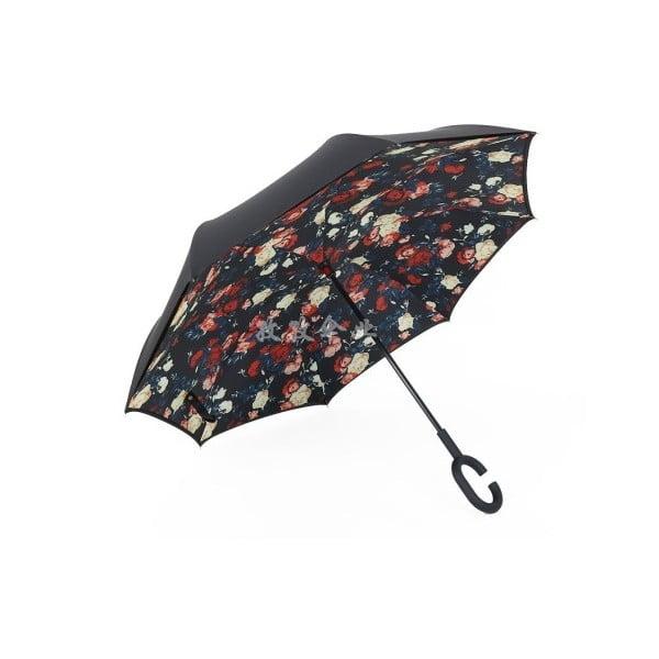 Umbrelă Flowers, 110 cm, negru cu detalii colorate
