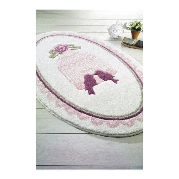 Růžovobílá předložka do koupelny Confetti Bathmats Birdcage, 80 x 130 cm