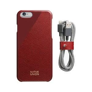 Set tmavě červeného obalu z pravé kůže a nabíjecího kabelu pro iPhone 6 a 6S Plus Native Union Clic Leather Belt