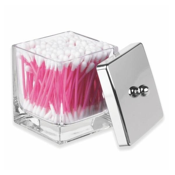Skleněná koupelnová dóza s víkem ve stříbrné barvě na vatové tyčinky InterDesign