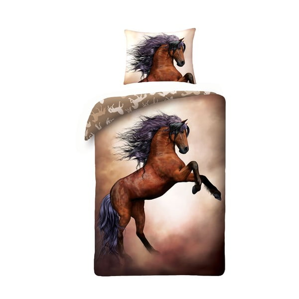 Lenjerie de pat din bumbac pentru copii Halantex Horses, 140 x 200 cm