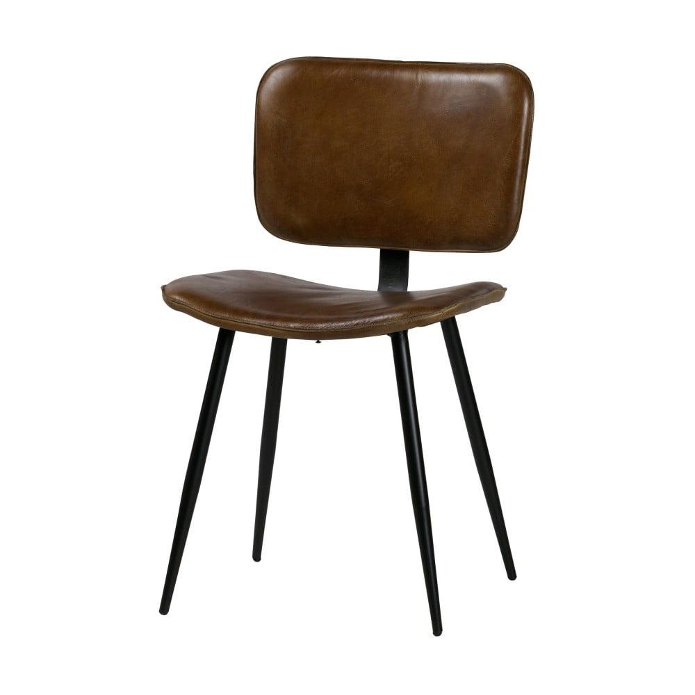 Jídelní židle s hnědým koženým sedákem De Eekhoorn Range